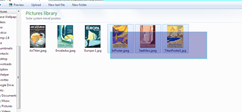 Files being selected with drag box